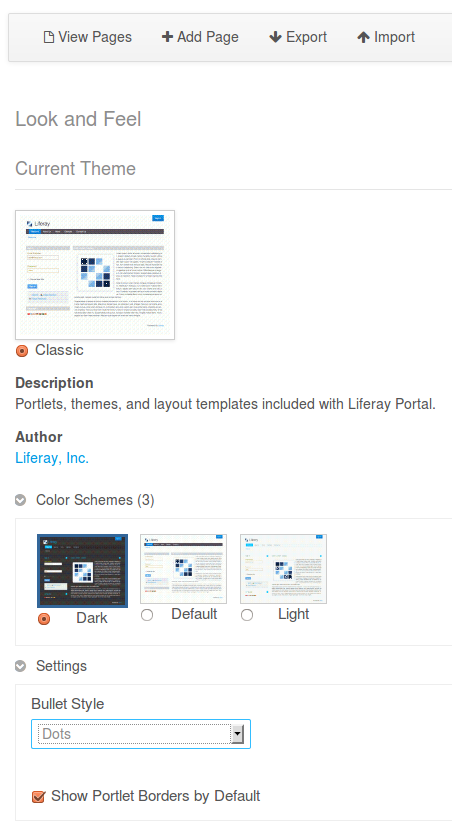 Liferay Themes: Color Schemes and Settings