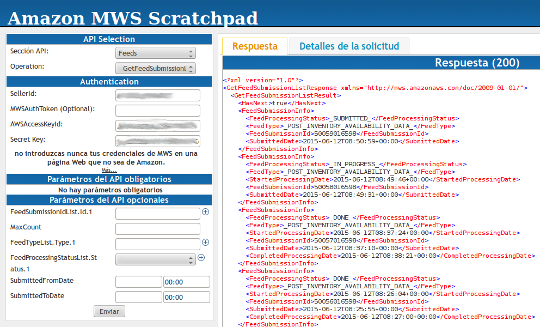 Amazon MWS Scratchpad Query