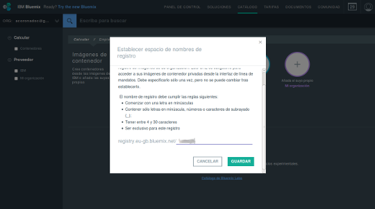 IBM Bluemix namespace