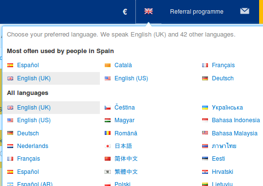 Liferay language selector