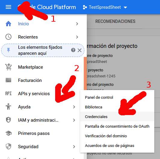 Google credentials step 1
