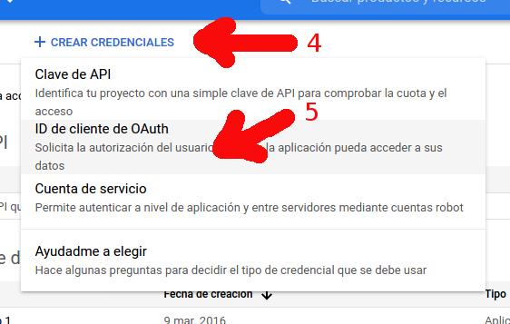 Google credentials step 2